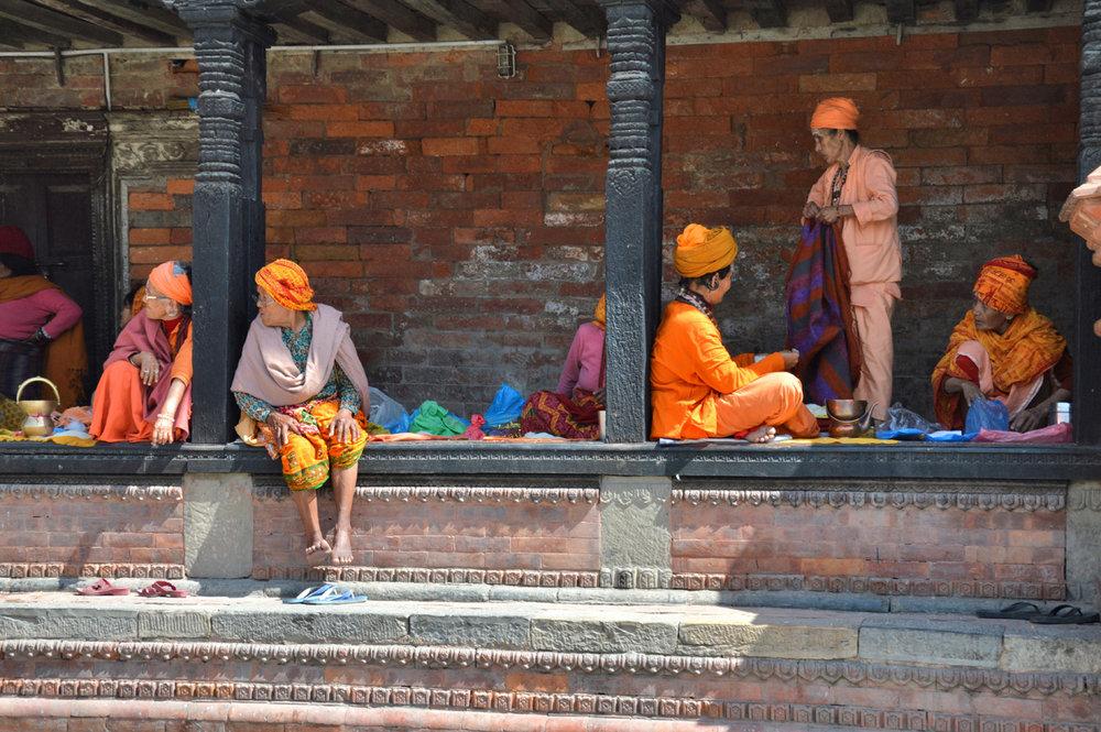 Local people near Boudhanath Stupa