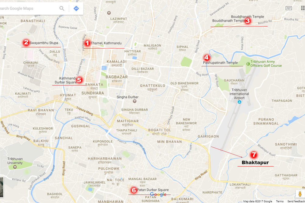 The map attractions in Kathmandu