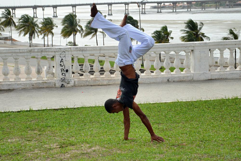 Practicing capoeira