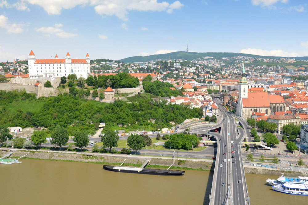 Bratislava Castle and the old town seen from the UFO observation desk