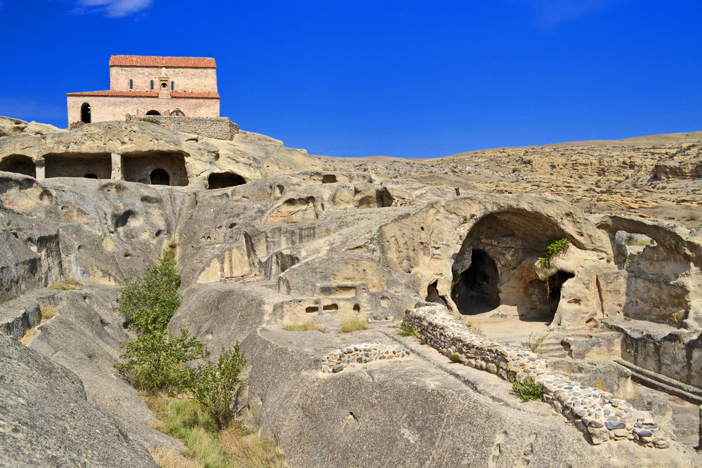 Uplistsikhe Cave Town - 9th century basilica.jpg
