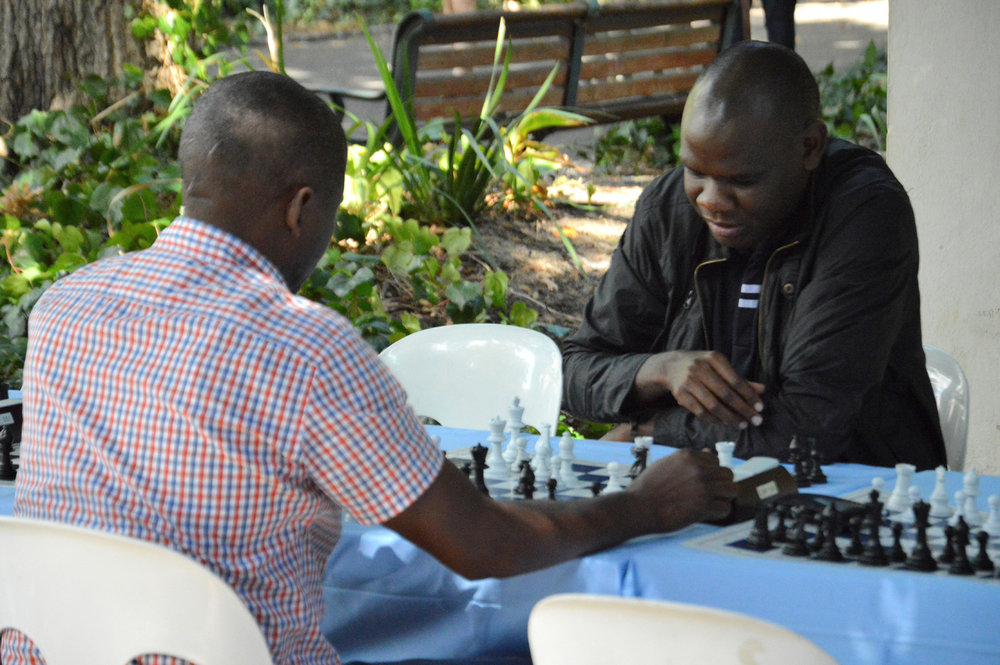 Enjoying chess in the park
