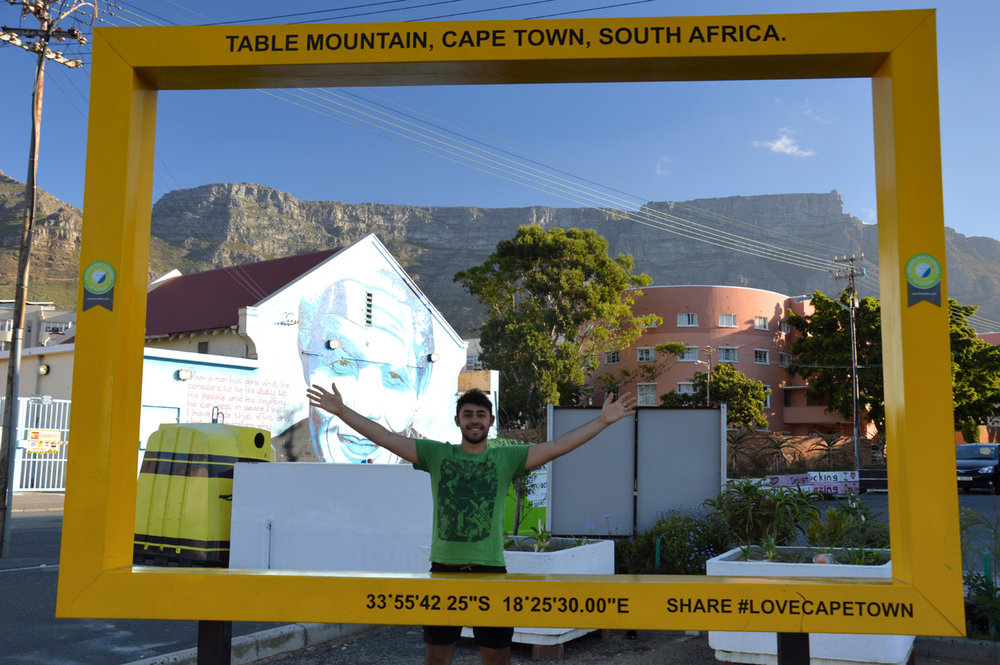 A photo with the famous Table Mountain - while leaving District Six