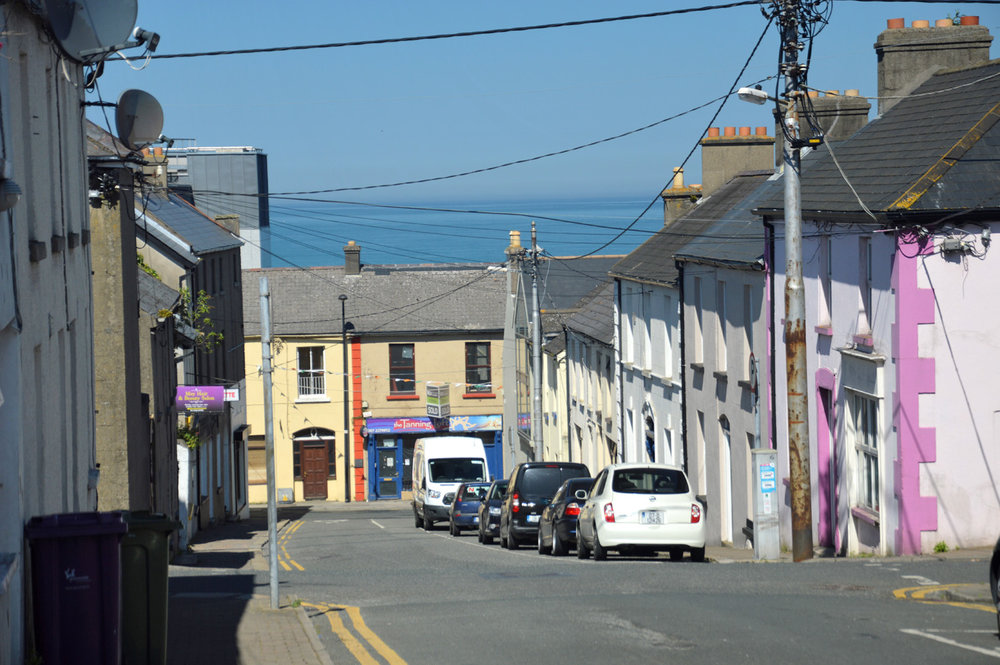 Wicklow town with the view of the sea