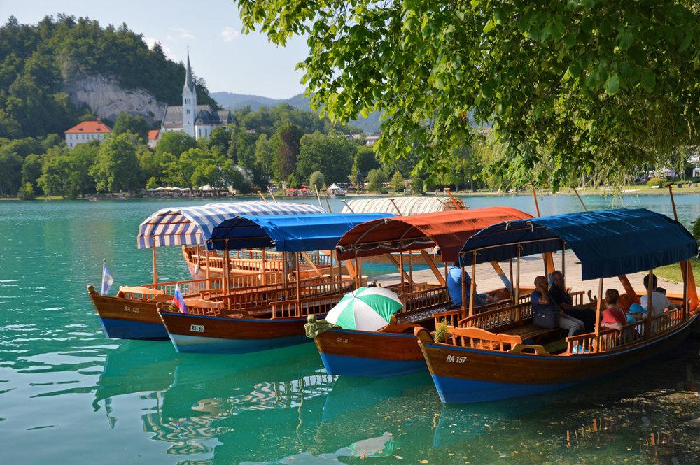 Gondolas in Bled