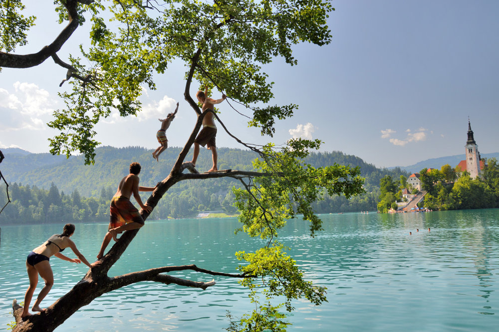 Swimming in Bled