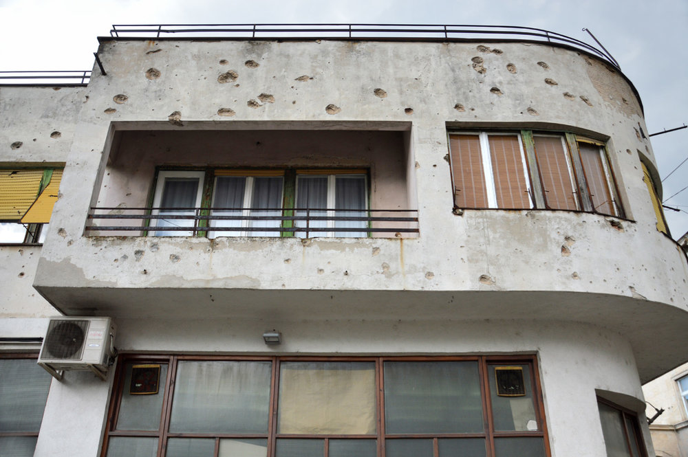 Bullet marks - remind of the war