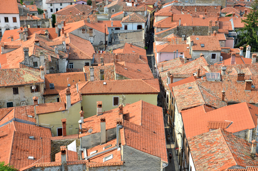 Red roofed houses