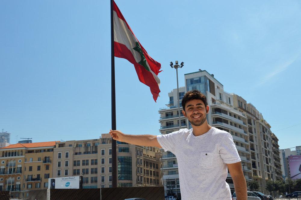 """""""Holding"""" the Lebanese flag"""