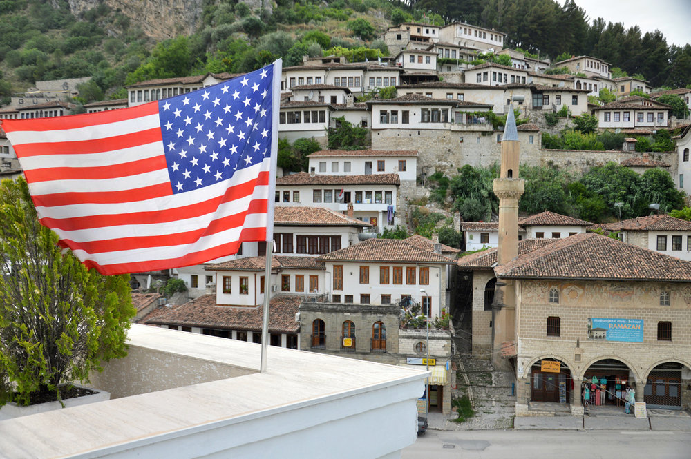`The US flag and Bachelor's Mosque