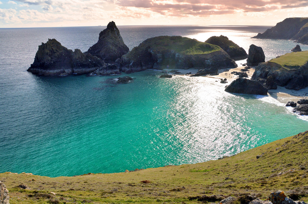 Kynance Cove at the sunset