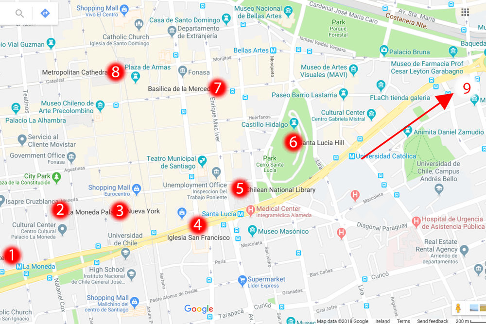 Map of central Santiago: 1. Entel Tower, 2. Presidential Palace, 3. La Bolsa District, 4. San Francisco Church, 5. Chilean National Library, 6. Santa Lucia Hill, 7. Basilica de la Merced, 8. Plaza de Armas and Metropolitan Cathedral, 9. (Out of the map - near the metro stop Tobalaba) Gran Torre Skyscraper and San Cristobal Hill