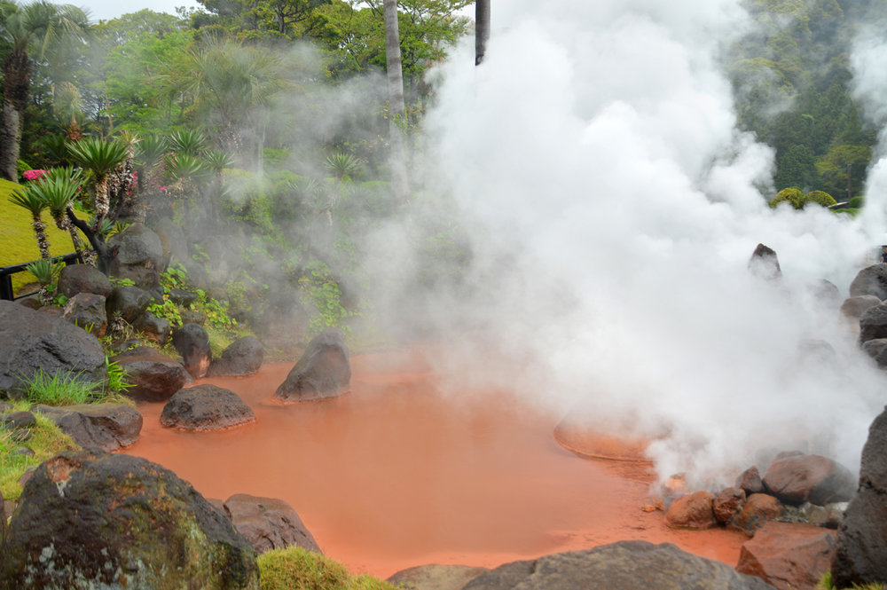 Red volcanic pond in Bepu     more info