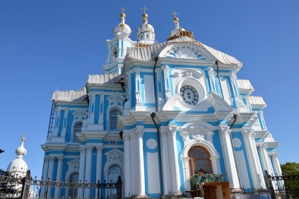 Smolny Cathedral - although being renovated, still beautiful