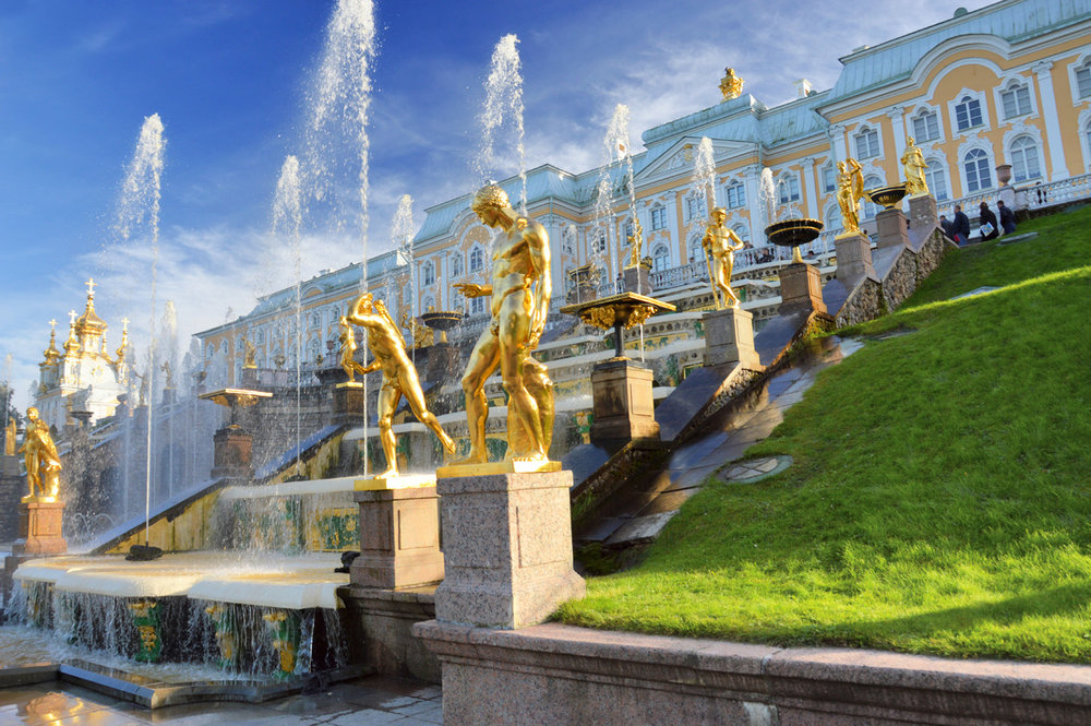 Cascades and fountains at the Peterhof Palace