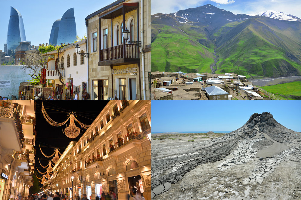 From left to right: Baku Old Town, the village of Khinalug in the Caucasian Mountains, Baku at night and mud volcano