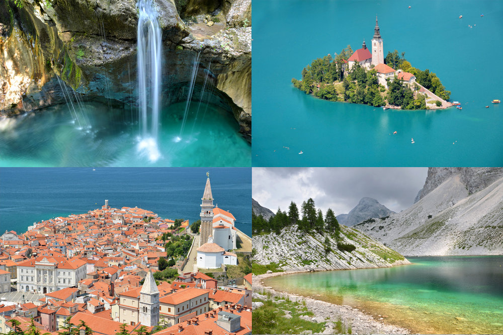 From left to right: Soca River, lake Bled, Mediterranean town of Piran and Triglav lakes in Slovenian Alps