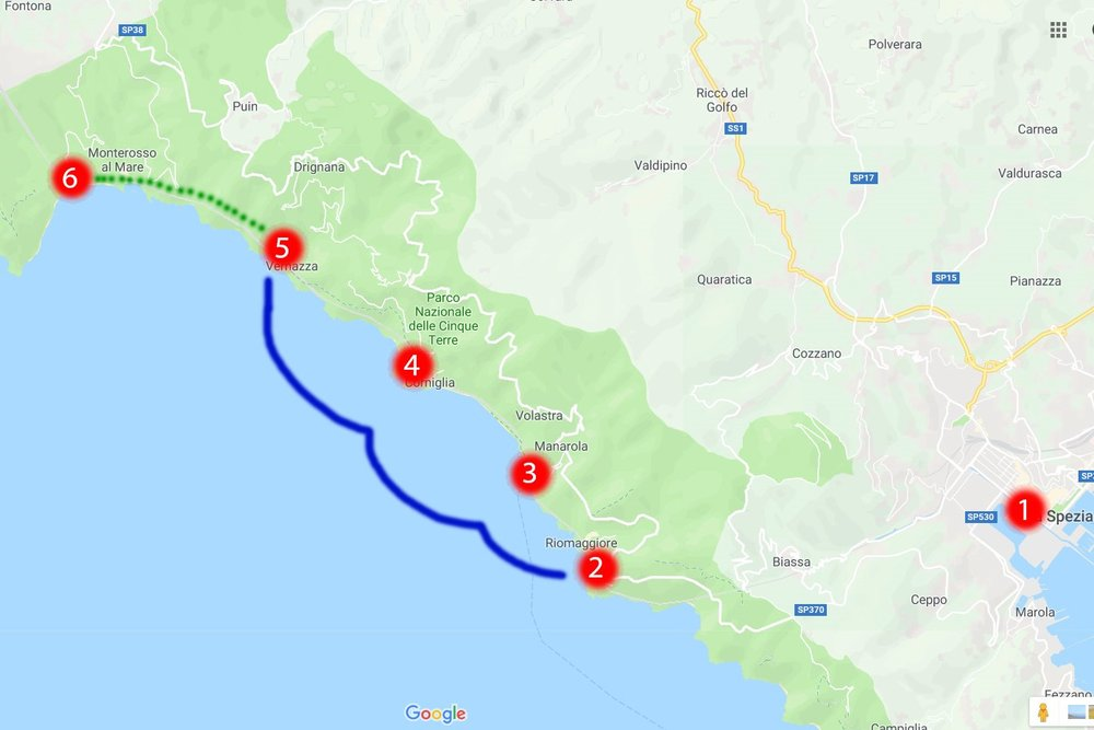 Cinque Terre - Map of the trails. Blue - the boat, green - hiking trail