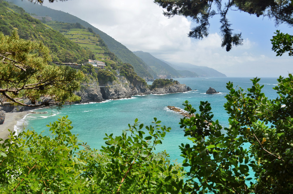 View from the trail between Vernazza and Monterosso (marked green on the map)