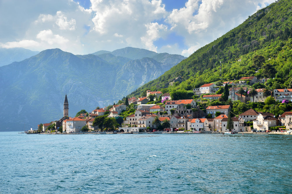 Perast - visible tower of St. Nicolas Church