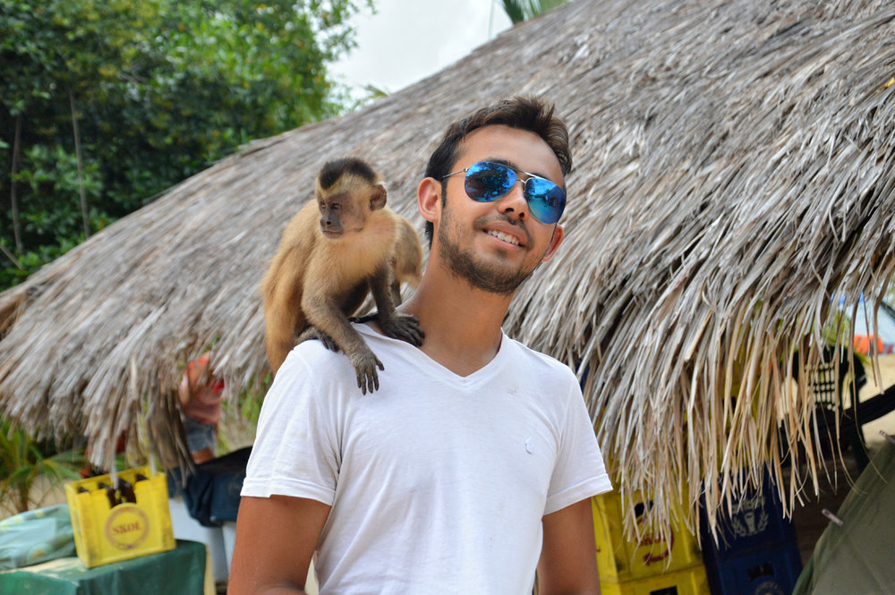 A photo with a monkey