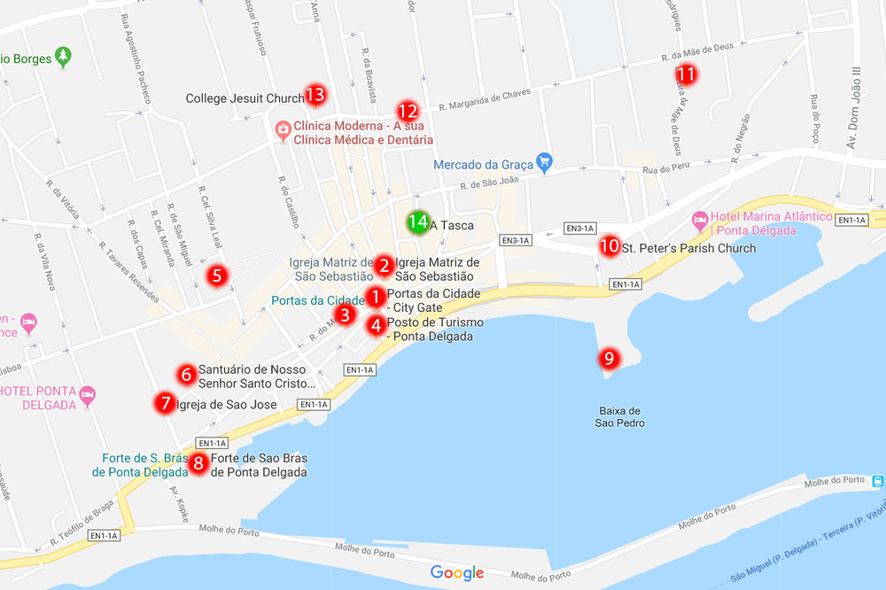 1. City Gate, 2. Church of St. Sebastian, 3. City Hall, 4. The tourist office, 5. Conceicao Palace, 6. Convent of Our Lady of Hope, 7. Church of Sao Jose, 8. Fort of São Brás, 9. The Marina, 10. St. Peter's Church, 11. Hermitage of the Mother of God, 12. Carlos Machado Museum, 13. College Jesuit Church, 14. A Tasca - local restaurant