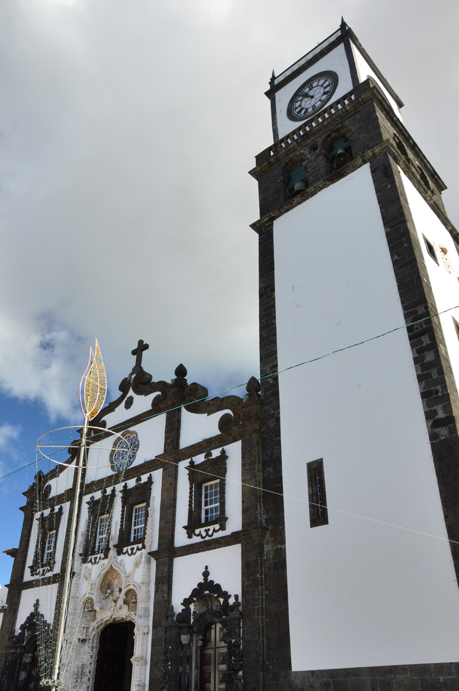 The clock tower of the Church of St. Sebastian