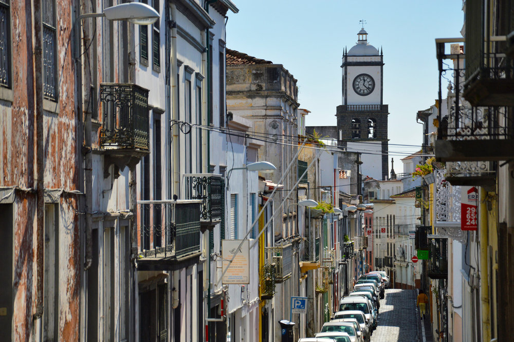 Ponta Delgada - the clock tower seen in the distance