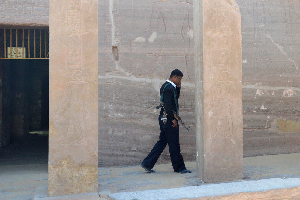 Armed guard at one of the tombs