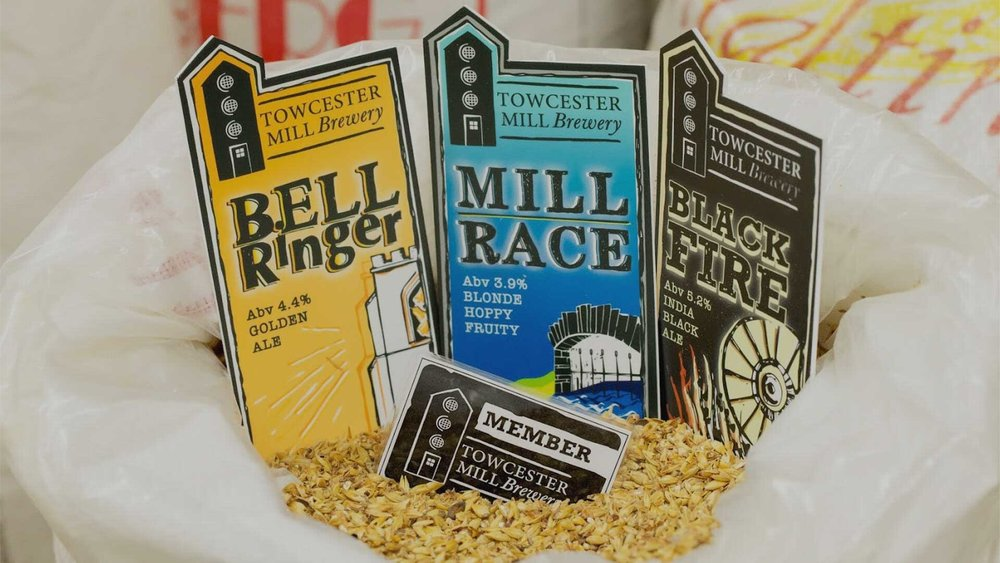 Towcester Mill have a large range of real ale, including the 'best-sellers' above.