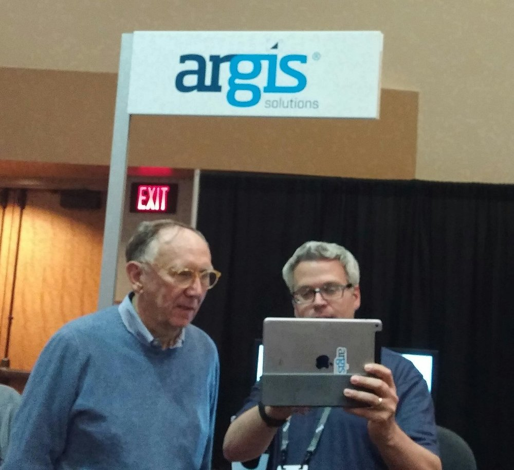 Jack Dangermond checks out the Argis®  Framework