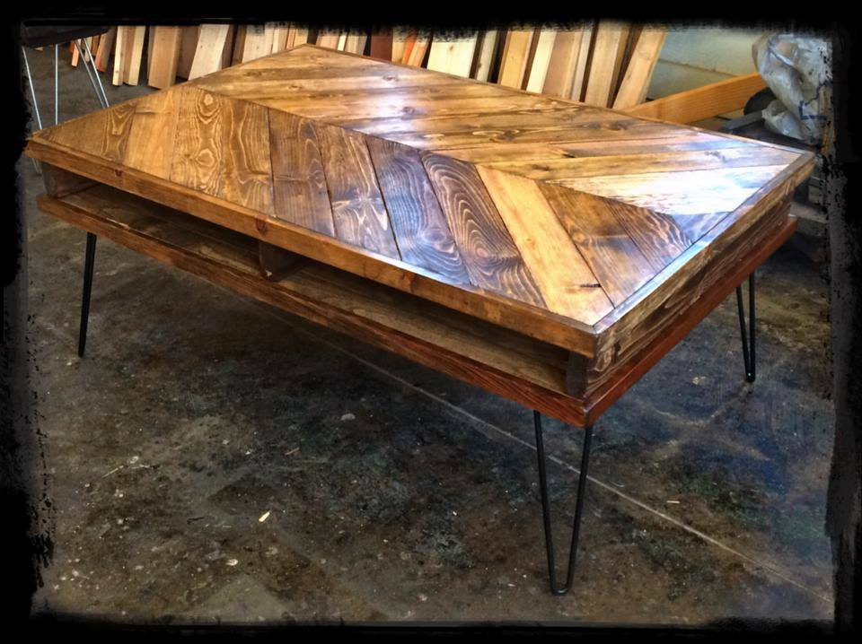Vee Coffee Table with Hairpin Legs