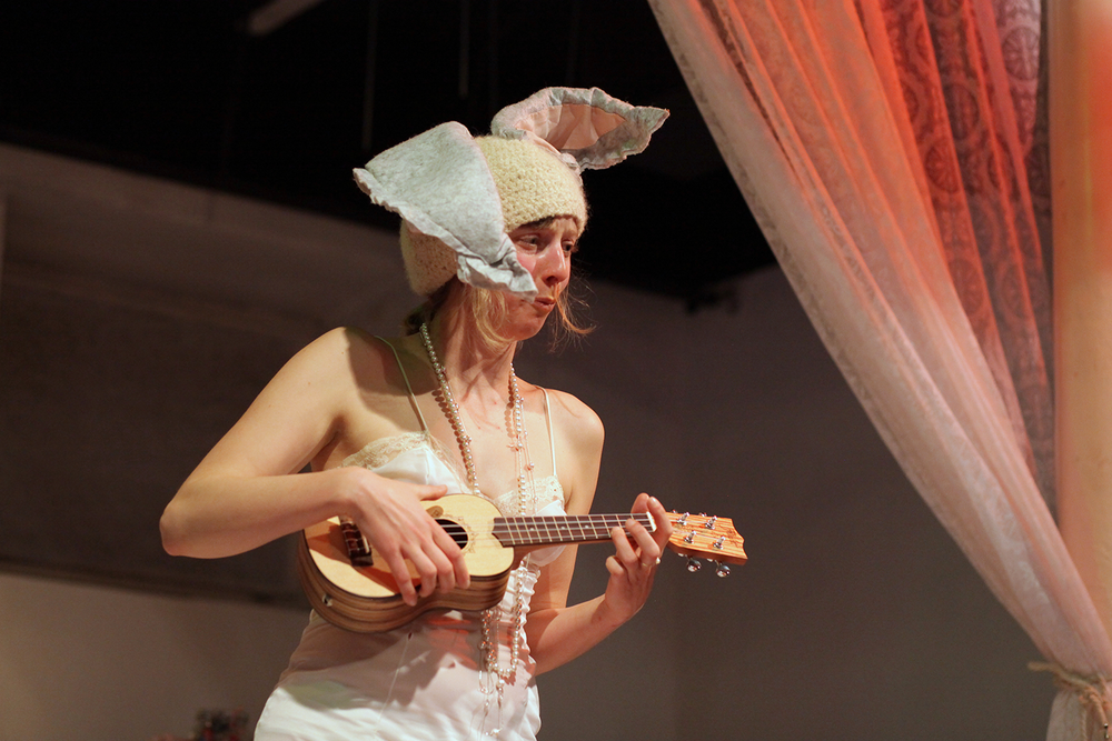 Lulu Lapin singing her Sad Sad Bunny song, with an unusual costume - usually she is in full bunny suit.