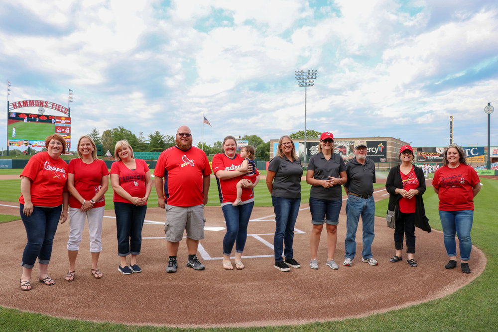 SRC's Community Relations Committee, consisting of associates from across all divisions, was honored at the Cardinals game for their work in supporting area non-profit organizations.