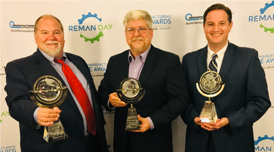 2018 Remanufacturing ACE Award Winners (from left to right): John Disharoon, Caterpillar Inc. (Advocate Award), Donald Chenevert Jr., SRC Holdings Corporation (Collaborate Award), Dr. Matthew Hudson, Ozarks Technical Community College (Educate Award).