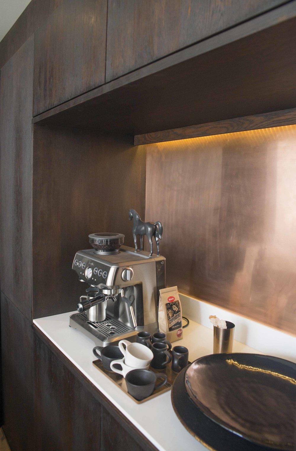 coffee station and hand-made ceramics