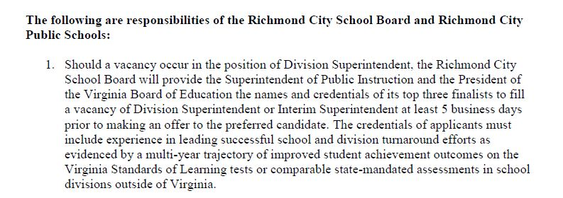 Richmond City Public Schools MOU language regarding Local School Board responsibilities during Superintendent vacancy.