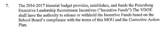 Petersburg City MOU language regarding incentive funds.