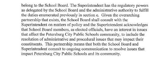 Petersburg City Public Schools MOU language regarding School Board power.