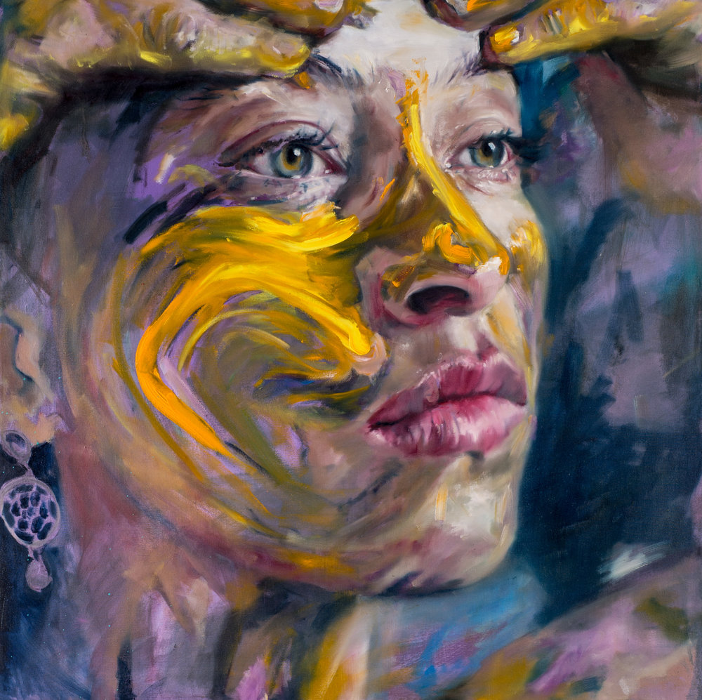 Violet-Yellow, 100x100cm, Oil on Canvas (SOLD)
