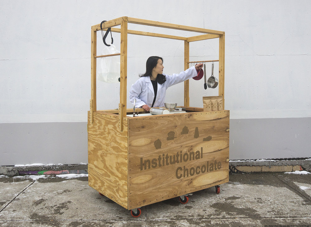 Bonam Kim, Mobile Kitchen, 2017, Wood, wheel, paint, table, kitchen ware, 33 x 55 x 75 in.