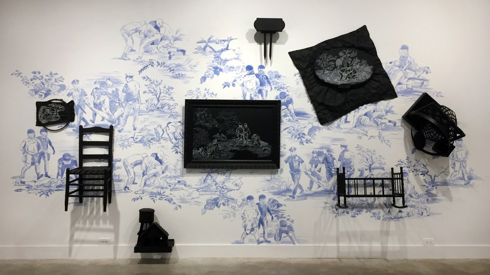 Hollis Hammonds, Domestic Brutality, 2017, acrylic paint on wall,  painted objects & chalk marker, 96 x 192 x 18 in.