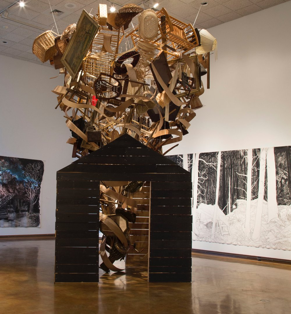 Hollis Hammonds, Up in Smoke (installation at Dishman Art Museum), 2016, Found objects, string, wood & hardware
