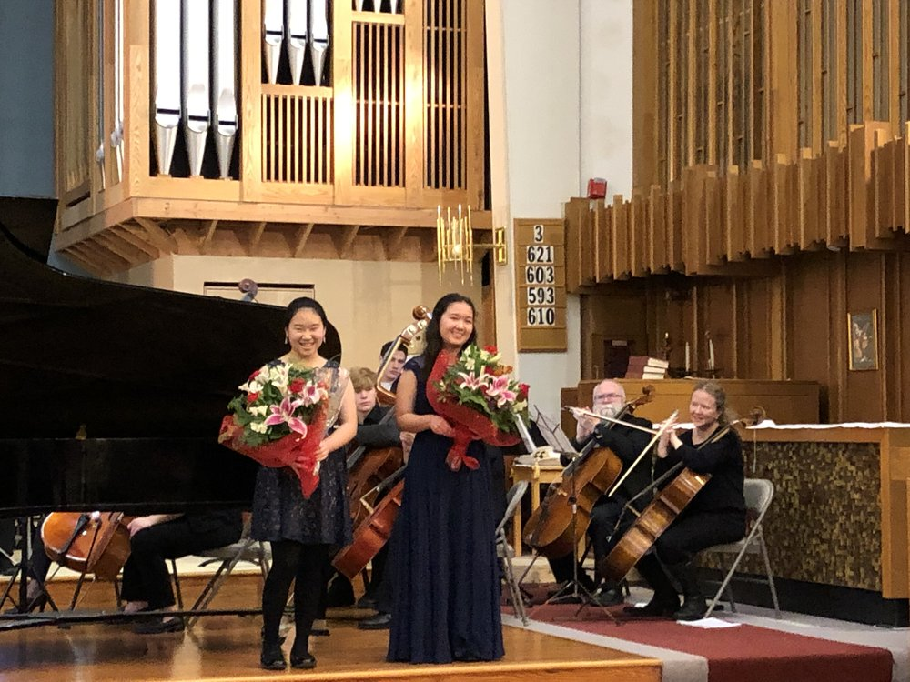 All smiles after it's done! The girls received flowers from the orchestra, family and friends, and also a lovely scholarship. Thank you, OCO!