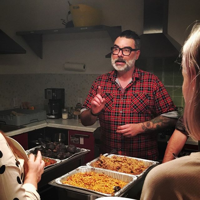 Searching for a bit of #SouthernComfort? Look no further than today's #ff: @gritsla's owner, Chef Rick. This busy guy pops up all over the #LosAngeles food scene. It's been a true delight working with him on a number of occasions. Here he is explaining a custom menu to an excited room of guests.  #catering #feast #instafood #instawedding #instacatering #food #service #cateringservice #chef #team #hospitality #event #eventplanner #eventprofs #eventpros #followfriday #southernfood #grits #macncheese #brisket #beans #glutenfree #allergyfriendly #foodsensitivies #customcatering #flannel #southerncooking