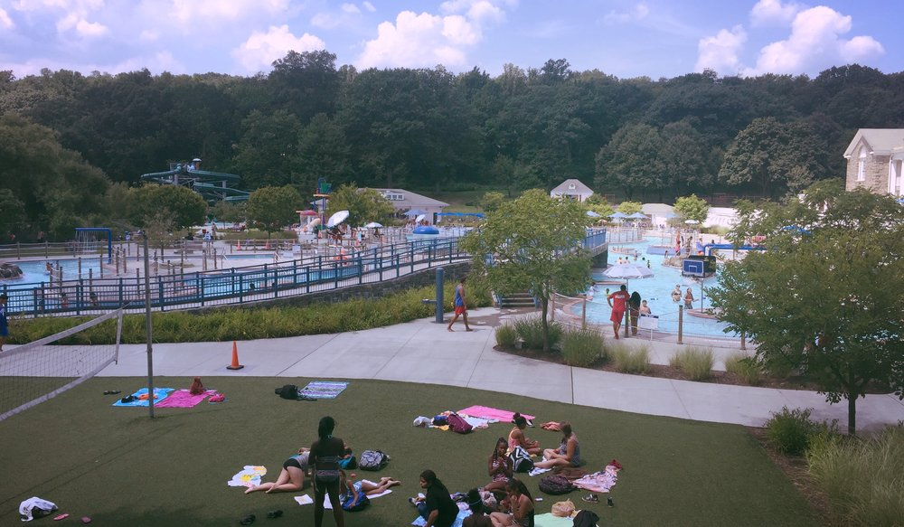 Tibbets Park pool complex including slides and lazy river