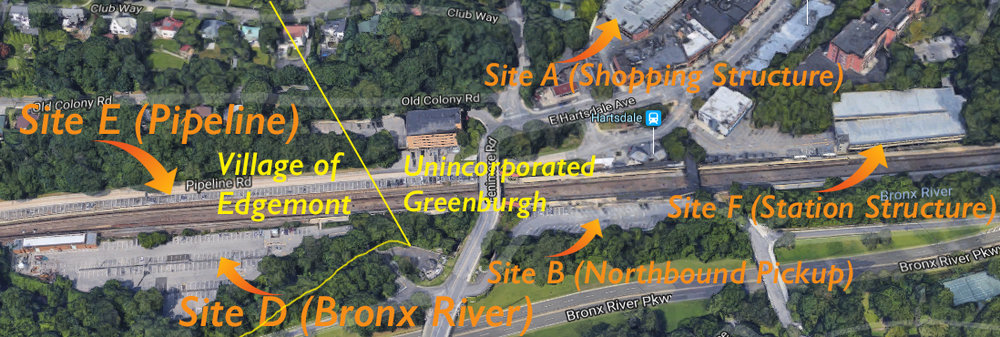 """A west facing aerial view of all Hartsdale Public Parking District sites with commuter parking. (Image is from Google Earth; border lines are based on """"Edgemont Mapping"""" by Tectonic Engineering, 5/8/17.) Parking District parcel splits are further documented in the Town of Greenburgh's tax roll."""