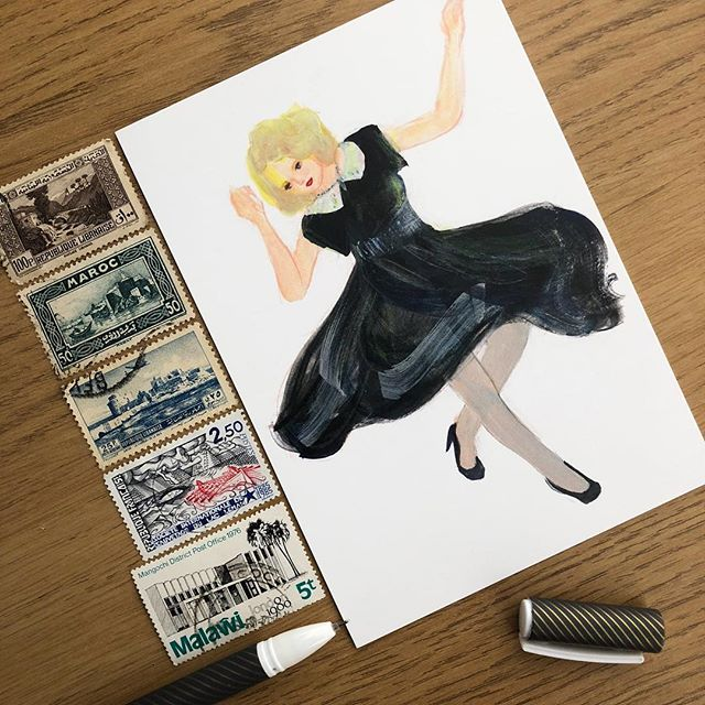 'Ginger Rogers' Tap Dancing (USA, World Dance Project)' by @junesees⠀ From our postcard collection, available now⠀ #gingerrogers #tapdancing #dance #art #discoverart #postcard #inkpluspaper #illustration