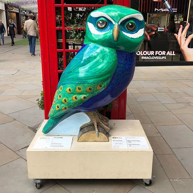 There's something not quite right about this peacock…⠀ #Bath #owl #peacock #art #sculpture #OwlsOfBath