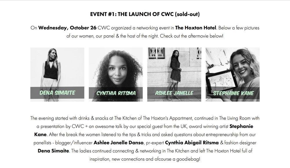 Co-Founder Cynthia Abigail Ritsma at the first sold-out event of the Creative Women Collective - October 26th 2016 in The Hoxton Hotel in Amsterdam. More info here.
